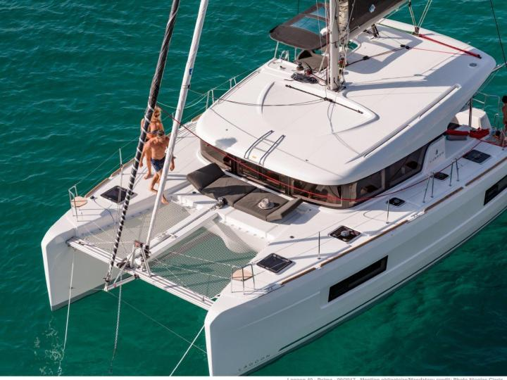 Catamaran for rent in Portisco, Italy, for up to 8 guests.