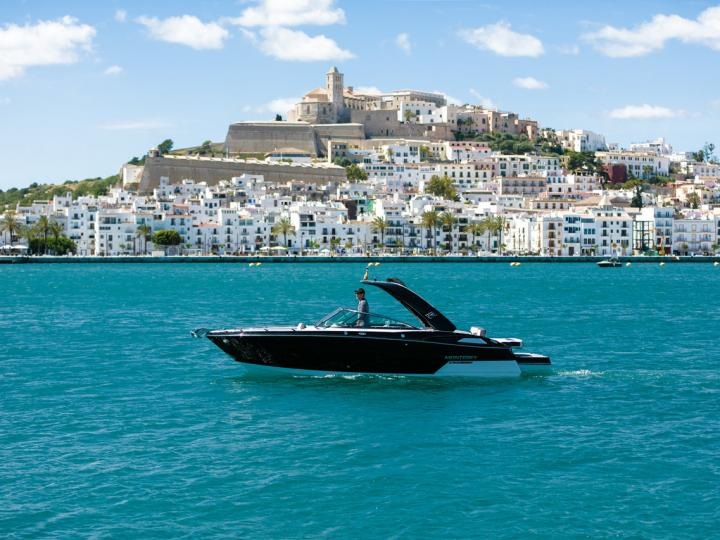 Sail on a power boat in Eivissa, Spain - the ultimate vacation trip on a yacht charter.