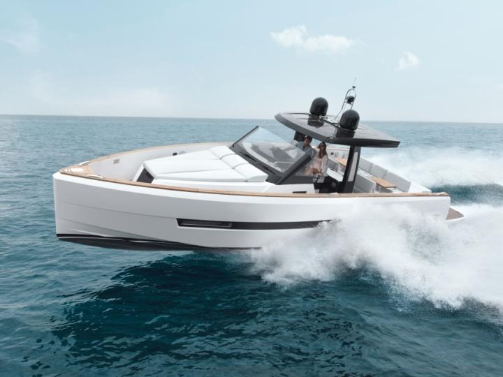 Sail on a beautiful 44ft power boat for 4 guests in Sant Antoni de Portmany, Ibiza, Spain - the ultimate vacation trip on a yacht charter.