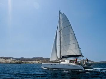 Private catamaran boat for rent in Lavrio, Greece, for up to 8 guests.