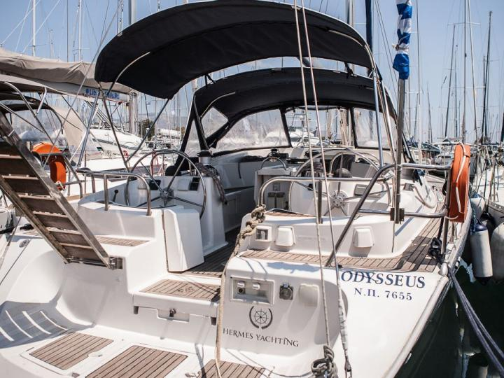 Discover sailing aboard the 52ft Odysseus boat for rent in Lavrio, Greece - a 5 cabins yacht charter.
