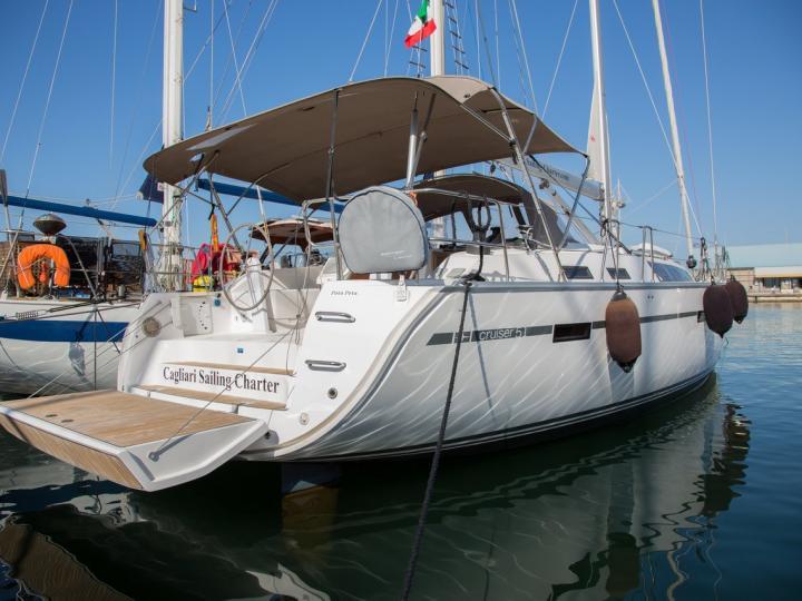 Rent a sail boat in Cagliari, Italy - the Pota Pota boat.