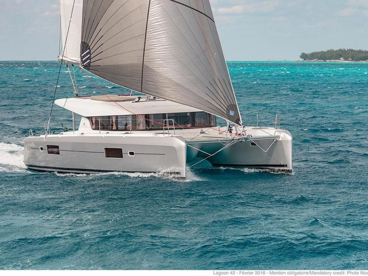 Rent this spacious, luxurious and fully appointed, new 42ft Catamaran sailboat in Croatia, near Split,  for up to 8 guests.