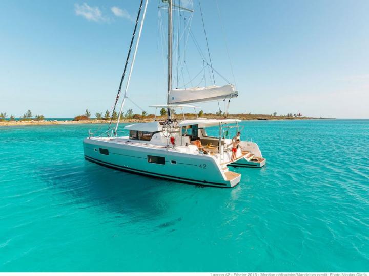 A brand new catamaran for rent in Dubrovnik, Croatia.
