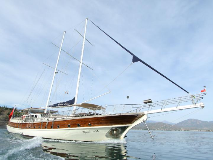 This wonderful deluxe  gulet sailing at the coasts of aegean and Mediterranean is 30 meters long and for 12 people.