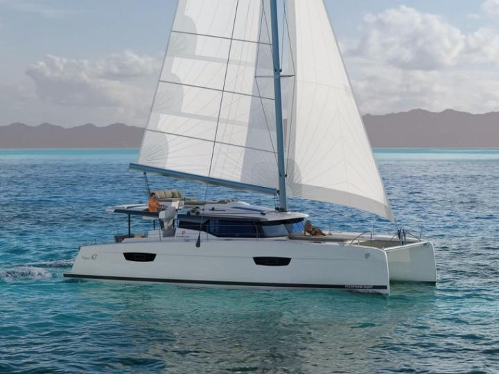 Discover boating aboard the 46ft GUIRIDEN  boat in Grenada, Caribbean Netherlands - a 6 cabins Catamaran for rent.