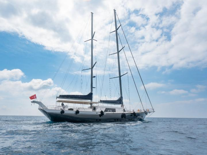 This wonderful luxury gulet sailing at the coasts of aegean and Mediterranean is 41 meters long and for 9 people