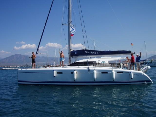 Private catamaran sailboat for rent in Marmaris, Turkey.