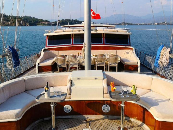 Sail around Bodrum, Turkey on a Gullet powerboat charter.