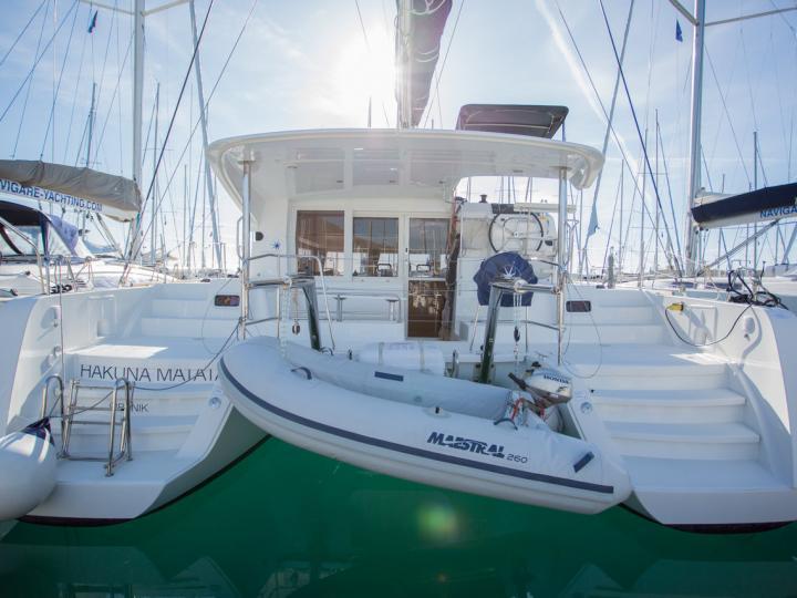 Cruise the beautiful waters and islands of Dalmatia, Croatia aboard this great catamaran for rent.