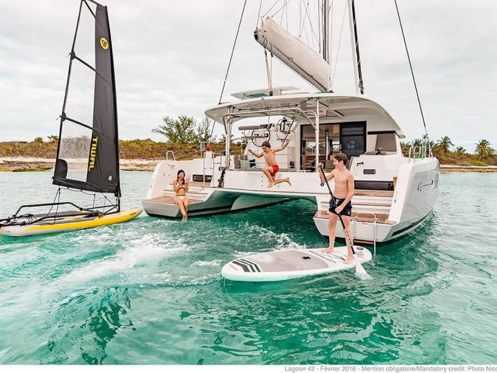 Cruise the beautiful waters of Palma, Spain aboard this great catamaran for rent.