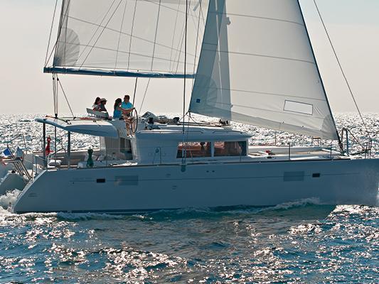 Catamaran for rent in Portisco, Italy.