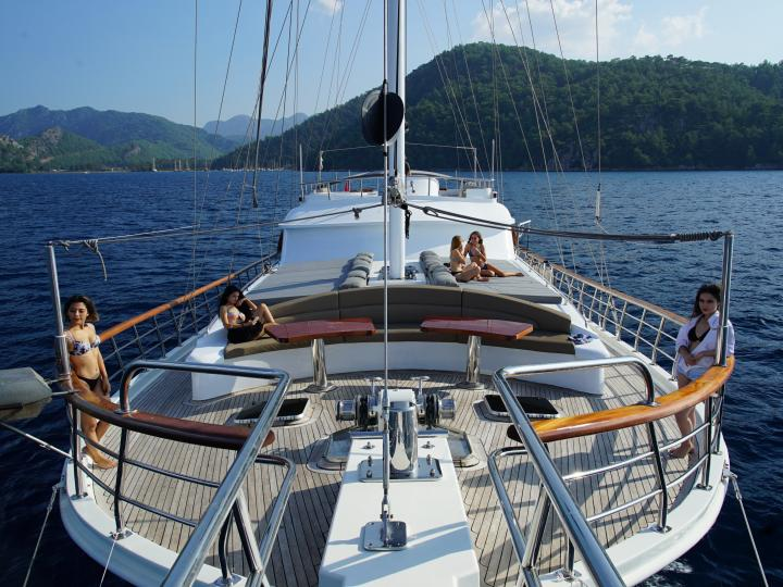 This wonderful deluxe  gulet sailing at the coasts of aegean and Mediterranean is 34 meters long and for 12 people.